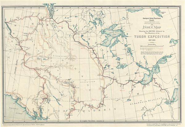 Index Map Shewing the Routes followed by The Members of the Yukon Expedition 1887 - 1888.
