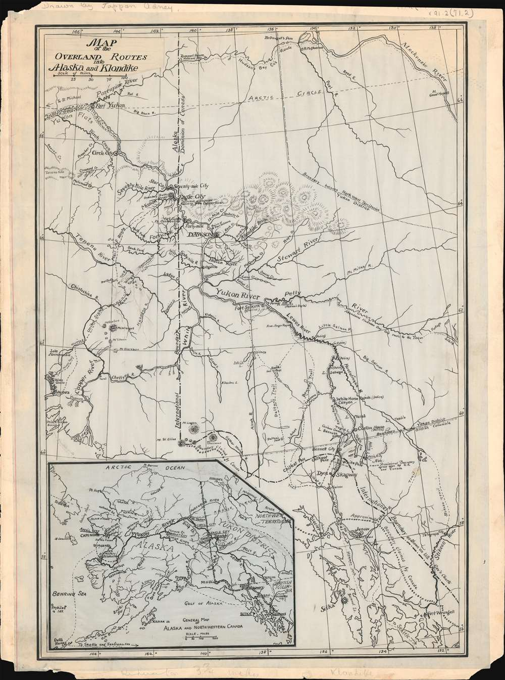 map of th overland routes into alaska and klondike