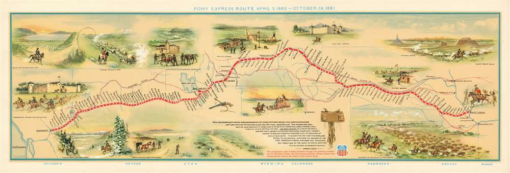 Pony Express Route April 3, 1860 - October 24, 1861. - Main View