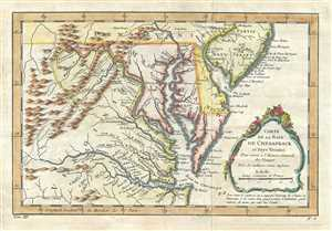 1757 Bellin Map of the Chesapeake Bay and Surrounding States