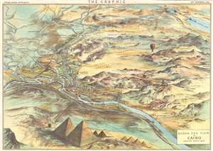 1882 Maclure and Macdonald Bird's-Eye View Map of Cairo, Egypt