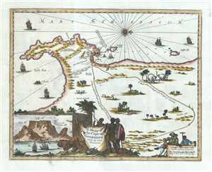 1703 Johannes Map of the Cape of Good Hope, South Africa