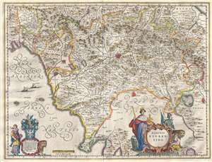1646 Blaeu Map of Tuscany (Florence), Italy