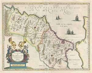1675 Blaeu Map of Morocco, Africa