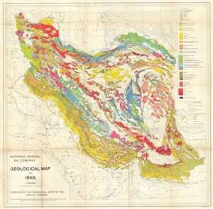 1959 National Iranian Oil Company Geological Map of Iran