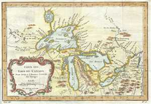 1757 Bellin Map of the Great Lakes