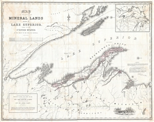 1845 Andrew Gray Map of Western Lake Superior