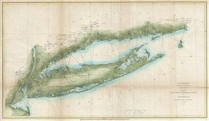 1851 U.S. Coast Survey Chart or Map of Long Island, New York