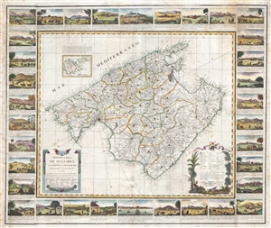 1814 Despuig Map of Majorca, Balaeric Islands, Spain (with surround)
