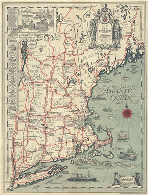 1828 Griswold Tyng Pictorial Map of New England