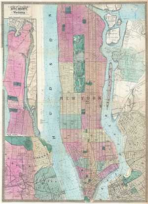 1864 Dripps Map of New York City