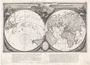 Geographicus rare antique maps 1784 santini map of the world on a dual polar projection gumiabroncs Image collections