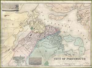 1850 Henry Walling Wall Map of Portsmouth, New Hampshire