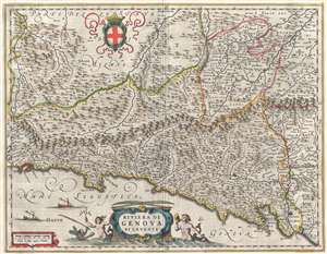 1646 Blaeu Map of the Bay of Genoa, Italy