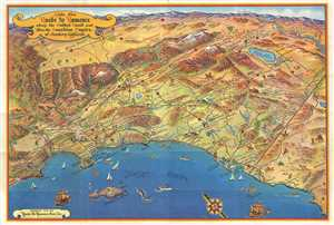 1953 Pictorial Bird's Eye View Map of Southern California
