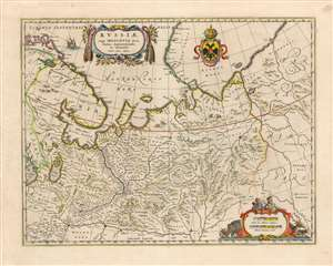 1642 Blaeu Map of Russia, with the Cartography of Issac Massa