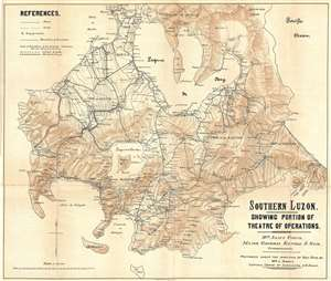 1900 Otis Map of the Southern Luzon, the Philippines, during the Philippine-American War