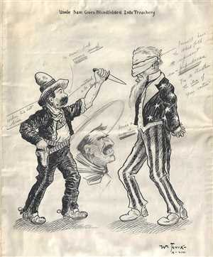 1917 Manuscript Political Cartoon of American-Mexican Relations