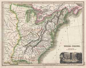 1819 Thomson Map of the United States [Franklinia]