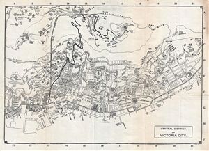 1925 Map of Hong Kong Central District and Victoria Peak