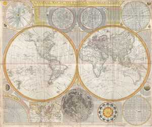 1794 Samuel Dunn Wall Map of the World in Hemispheres