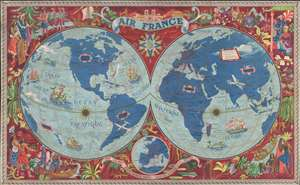 1952 Lucien Boucher Air France Pictorial Map of the World