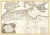 1771 Bonne Map of the Mediterranean and the Maghreb or Barbary Coast , Carte des Cotes de Barbarie ou Les Royaumes de Marco, de Fez, d'Alger, de Tunis, et de Tripoli avec les Pays Circonvoisins.