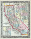 1860 Mitchell's Map of California , County Map of California.