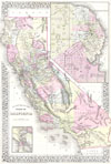 1881 Mitchell Map of California w/ San Francisco Inset , County Map of the State of California