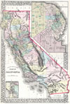 1872 Mitchell Map of California w/ San Francisco Inset , County Map of the State of California.