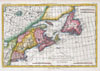 1780 Raynal and Bonne Map of New England and the Maritime Provinces , L'Isle De Terre-Neuve, L'Acadie ou La Nouvelle Ecosse