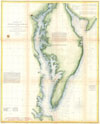 1855 U.S. Coast Survey Chart or Map of Chesapeake Bay and Delaware Bay , (C No. 3) Preliminary Chart of Delaware and Chesapeake Bays and the Sea Coast from Cape Henlopen to Cape Charles.