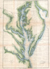 1873 U.S. Coast Survey Chart or Map of the Chesapeake Bay and Delaware Bay , Sketch C Showing the Progress of the Survey in Section III From 1843 to 1873.