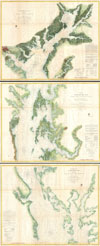 1857 U. S. Coast Survey Map of the Chesapeake Bay (3 parts) , Chesapeake Bay Sheet No. 1 From the Head of the Bay to the Mounth of the Magothy River. - Chesapeake Bay From the Head of the Bay to the Mouth of the Potomac River. Sheet No. 2 From the Mouth of the Magothy River to the Mouth of the Hudson River. - Preliminary Chart of Chesapeake Bay Sheet No. 3 From the Mouth of the Hudson River to the Mouth of the Potomac River.