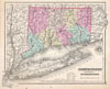 1857 Colton Map of Connecticut and Long Island , Connecticut with portions of New York and Rhode Island.