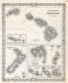 1855 Colton Map of Hawaii and New Zealand , Hawaiian Group or Sandwich Islands.  New Zealand.  Viti Group or Feejee Islands.  Society Islands.  Marquesas or Washington Is.  Galapagos Islands. Samoan or Navigators Is.