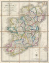 1853 Wyld Pocket or Case Map of Ireland , A Map of Ireland divided into Provinces and Counties shewing the Great and Cross Roads with distances of the principal Towns from Dublin.  Also the Steam Communications from  the Out Ports, and the average Time of Passage.
