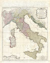 1794 D'Anville Map of Italy , A New Map of Italy with the Islands of Sicily, Sardinia & Corsica. From Monsr. d'Anville: to which have been added the post roads and several other improvements.