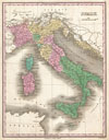 1827 Finley Map of Italy , Italy.