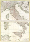 1770 Rizzi Zannoni Two Part Map of  Italy , L'Italie divisee en ses differens Etats dress d'apres les meilleurs Cartes appuyee sur les Observations Astromom'.