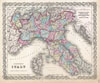 1855 Colton's Map of Northern Italy and Corsica , Northern Italy.