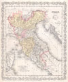 1856 Desilver Map of Northern Italy , Italy. North Part.