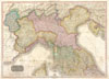1818 Pinkerton Map of Northern Italy ( Tuscany, Piedmont, Milan, Venice ) , Northern Italy.