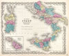 1855 Colton's Map of Southern Italy, Sicily, Sardinia and Malta , Southern Italy Kingdom of Naples, I. Sardinia & Malta.
