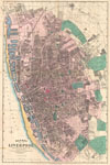 1890 Bacon Pocket Map of Liverpool, England , Bacon's Map of  Liverpool Corrected to the Present Time.