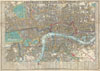 1848 Crutchley Pocket Map or Plan of London, England , Cruchley's New Plan of London Shewing all the new and intended improvements to the Present Time. / Cruchley's Superior Map of London, with references to upwards of 500 Streets, Squares, Public Places & C. improved to 1848: with a compendium of all Place of Public Amusements also shewing the Railways & Stations.