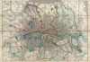 1852 Davies Case Map or Pocket Map of London, England , Davies's New Map of the British Metropolis, The Boundaries of the Boroughs, County Court Districts, Railways, and Modern Improvements.