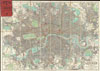 1895 Philip Pocket Map or Plan of London, England , Philips' New Map of London Extending Four & a Half Miles Round Charing Cross.