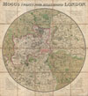 1820 Mogg Pocket or Case Map of London, England (24 Miles around) , Mogg's Twenty Four Miles Round London.