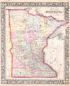 1864 Mitchell Map of Minnesota , County Map of Minnesota